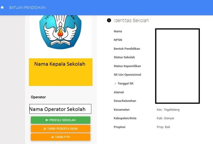 Halaman depan Profil Sekolah tanpa tombol Pakta Integritas