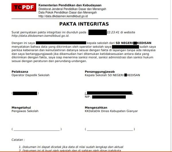 hasil download Pakta Integritas